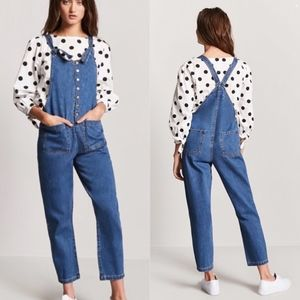 Forever 21 Denim Snap-Front Dungarees